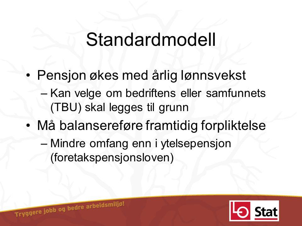 Standardmodell Pensjon økes med årlig lønnsvekst