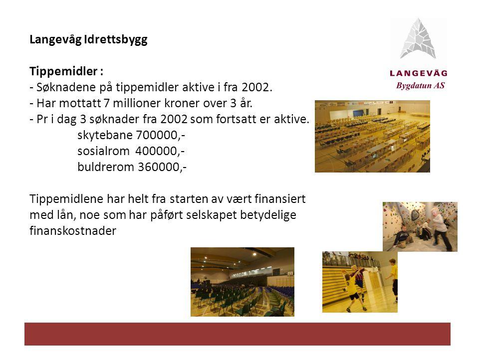 Langevåg Idrettsbygg Tippemidler : - Søknadene på tippemidler aktive i fra 2002. - Har mottatt 7 millioner kroner over 3 år.
