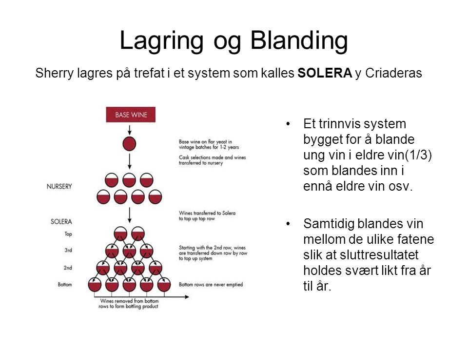 Lagring og Blanding Sherry lagres på trefat i et system som kalles SOLERA y Criaderas.