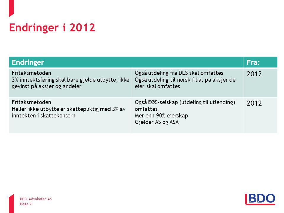 Endringer i 2012 Endringer Fra: 2012 Fritaksmetoden