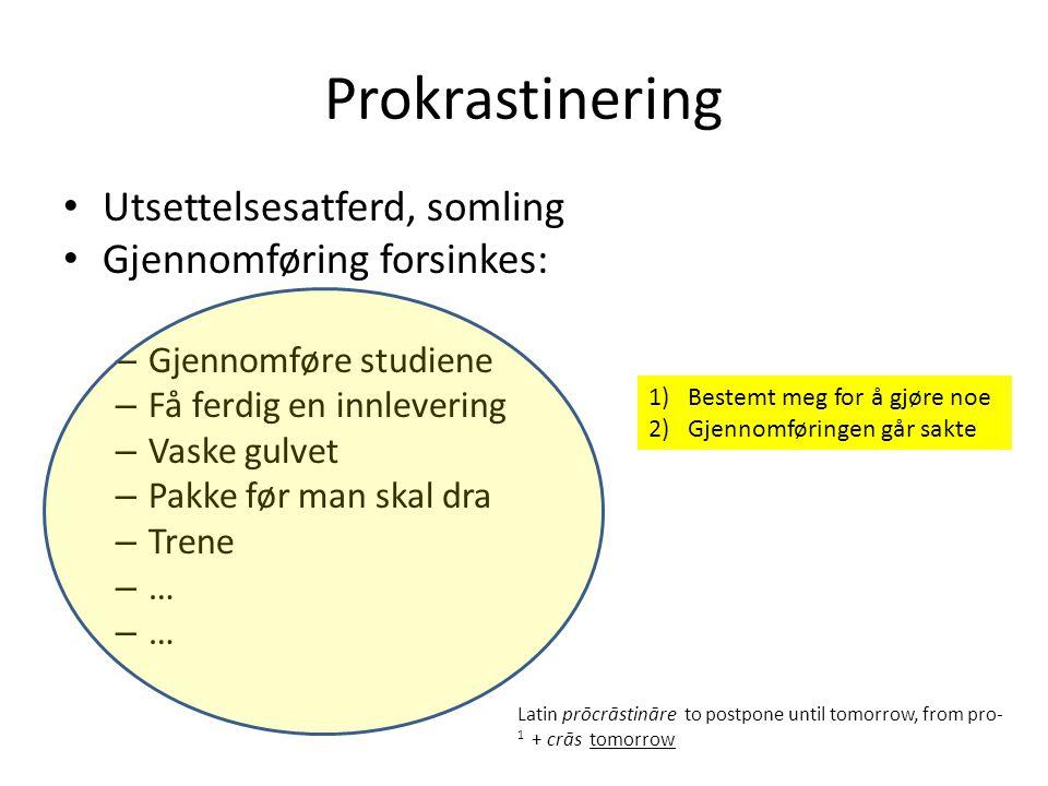Prokrastinering Utsettelsesatferd, somling Gjennomføring forsinkes:
