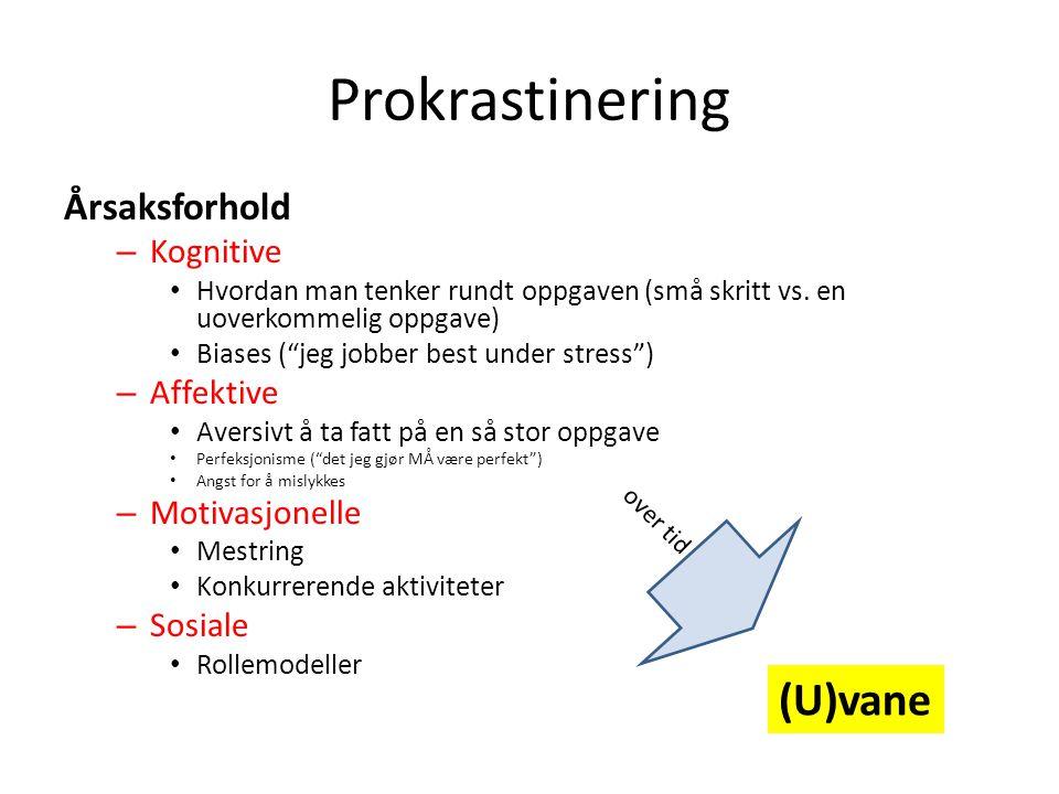 Prokrastinering (U)vane Årsaksforhold Kognitive Affektive