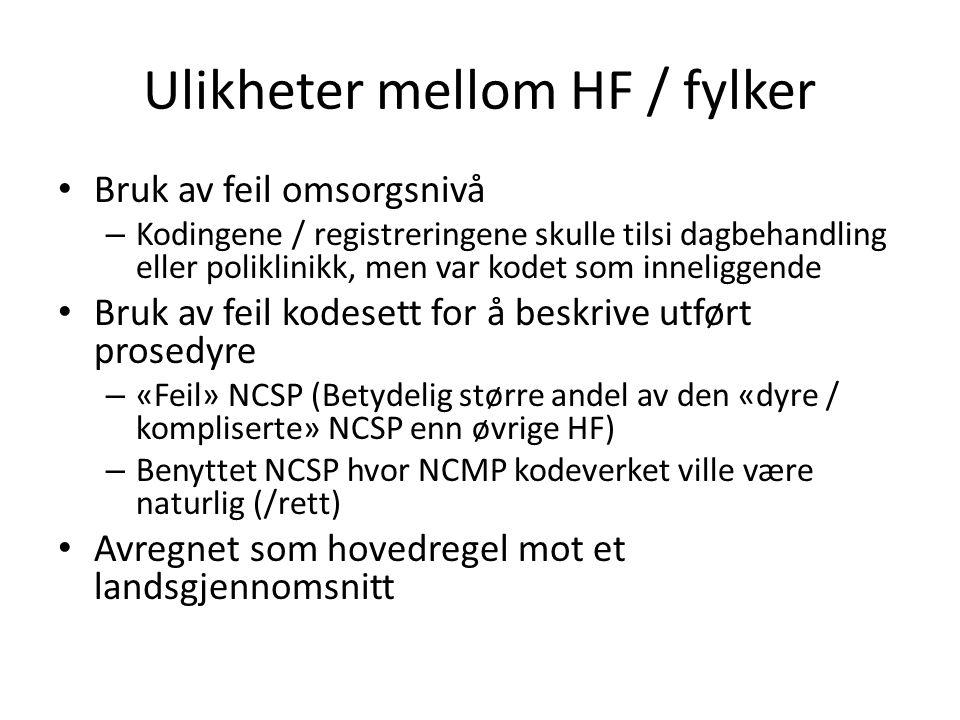 Ulikheter mellom HF / fylker