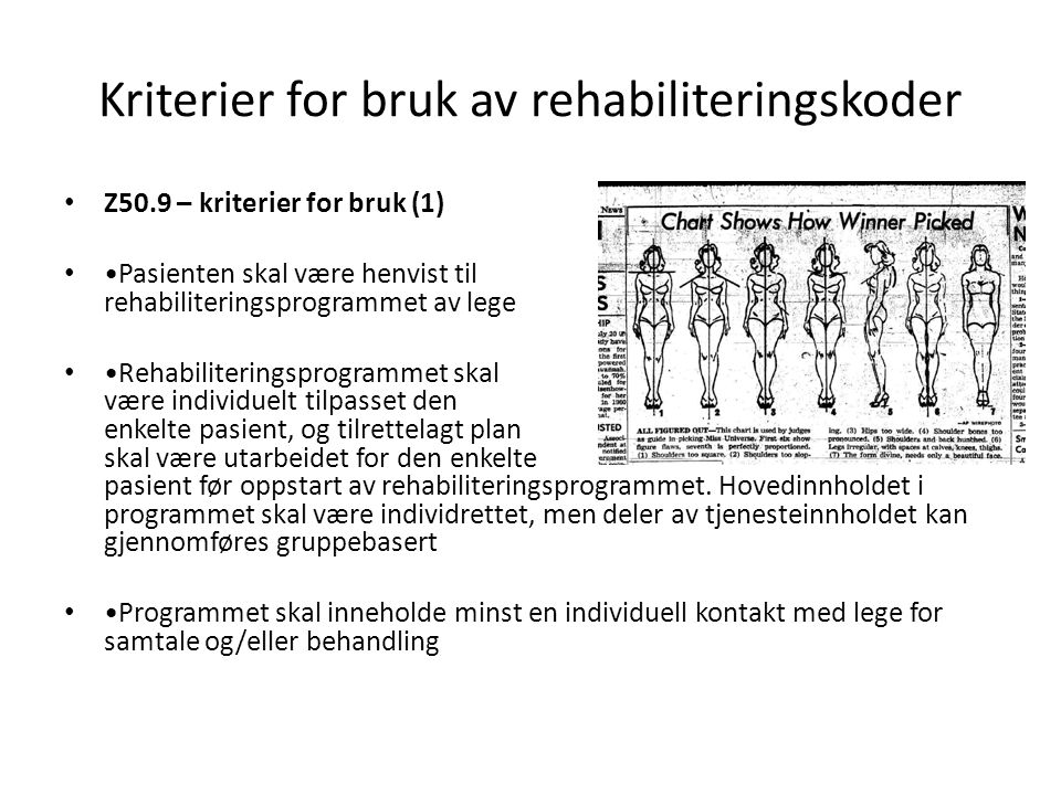 Kriterier for bruk av rehabiliteringskoder