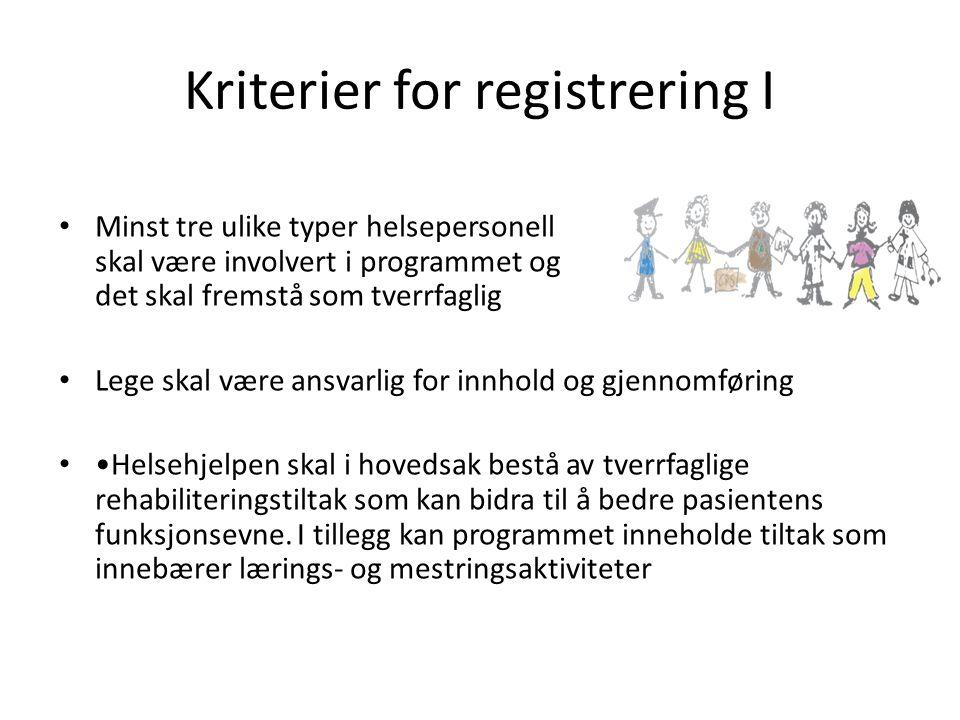 Kriterier for registrering I