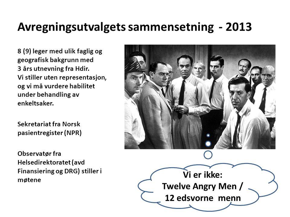 Avregningsutvalgets sammensetning - 2013