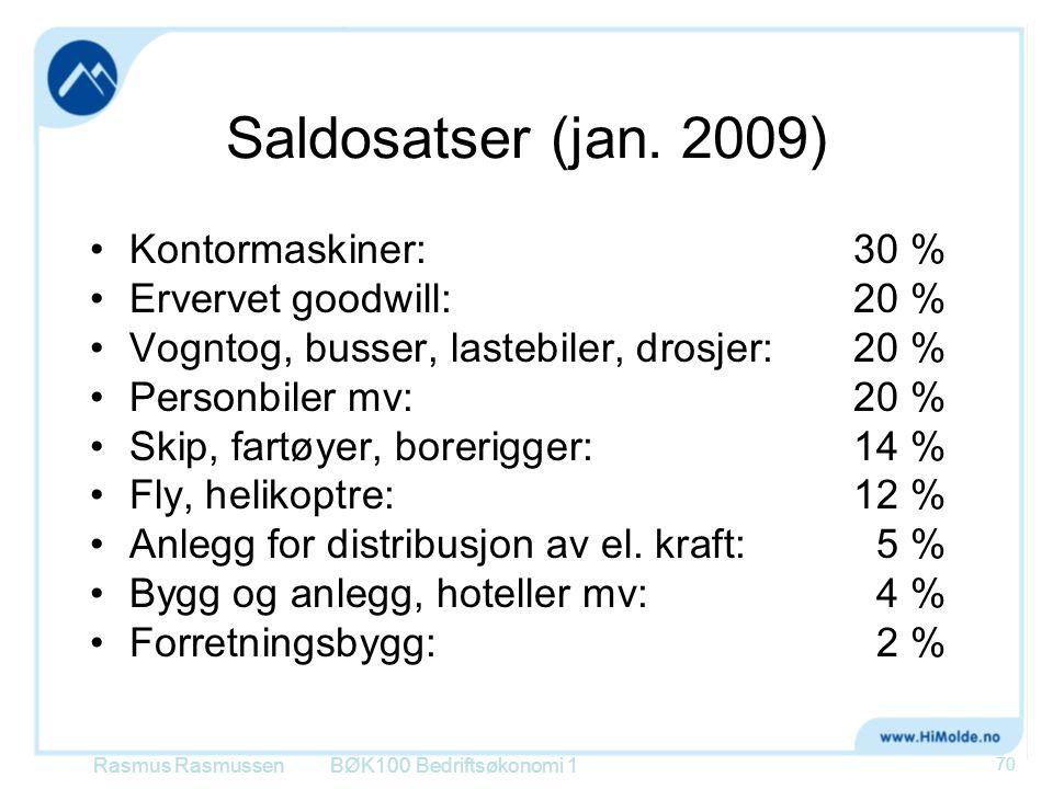 Saldosatser (jan. 2009) Kontormaskiner: 30 % Ervervet goodwill: 20 %