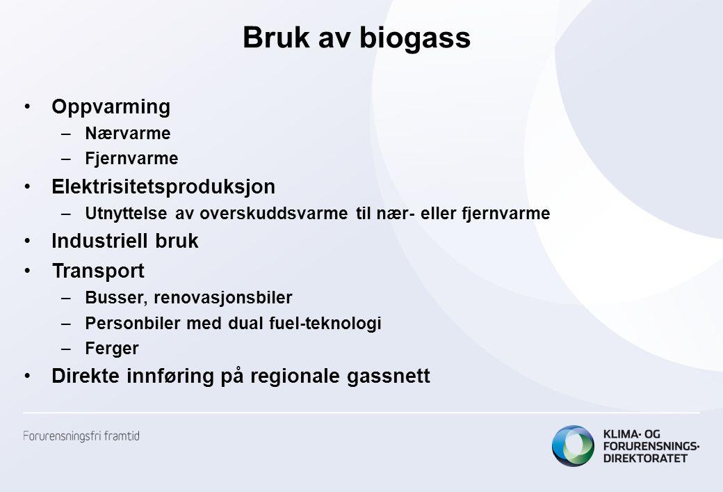 Bruk av biogass Oppvarming Elektrisitetsproduksjon Industriell bruk