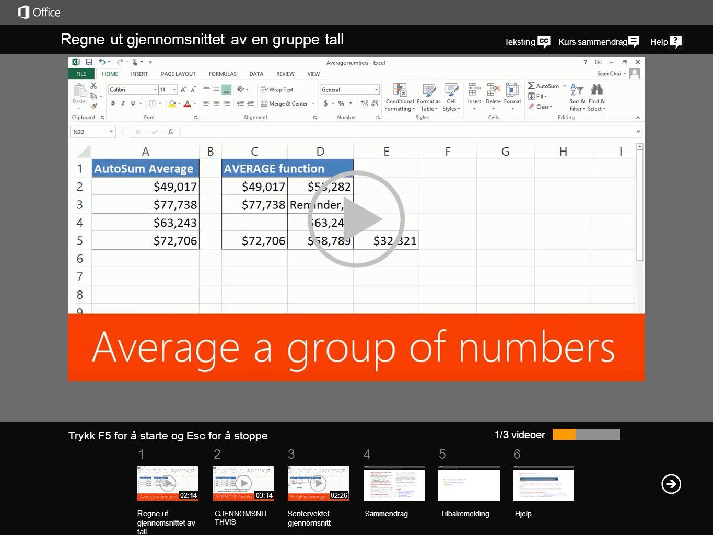Regne ut gjennomsnittet av en gruppe tall