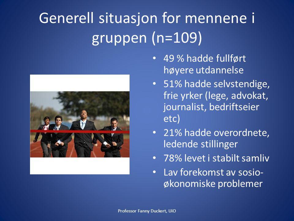 Generell situasjon for mennene i gruppen (n=109)