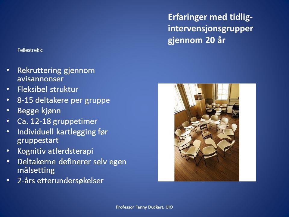 Erfaringer med tidlig-intervensjonsgrupper gjennom 20 år