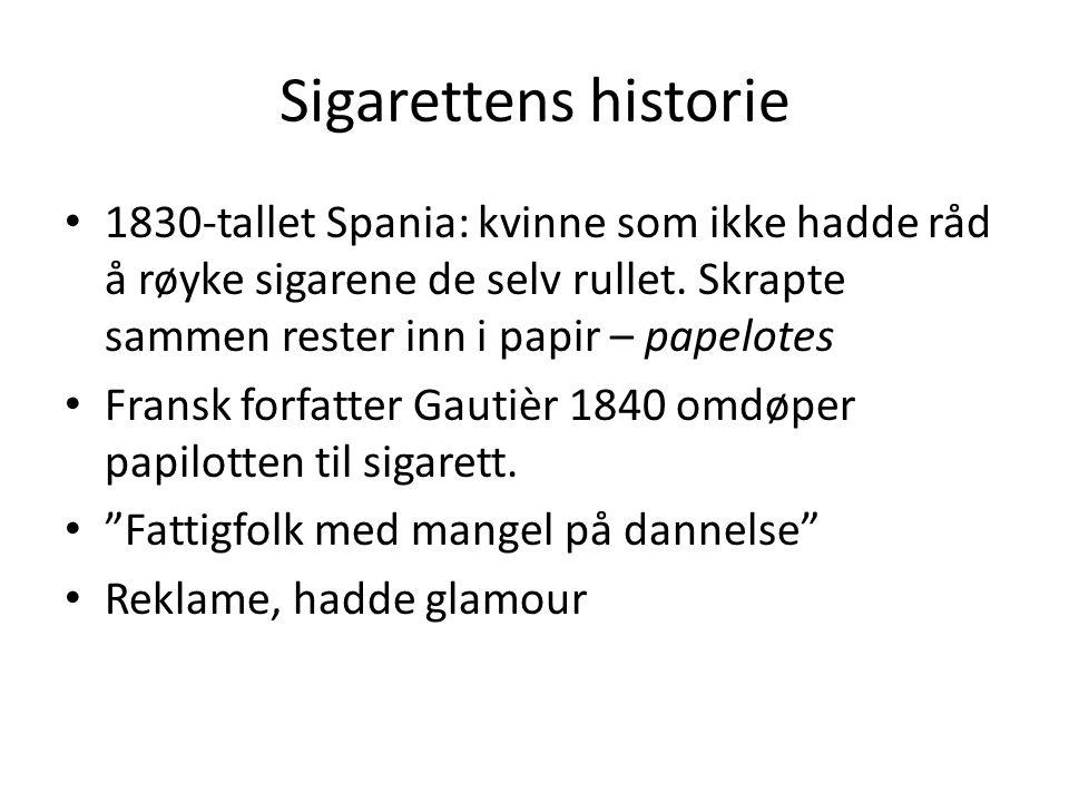 Sigarettens historie 1830-tallet Spania: kvinne som ikke hadde råd å røyke sigarene de selv rullet. Skrapte sammen rester inn i papir – papelotes.