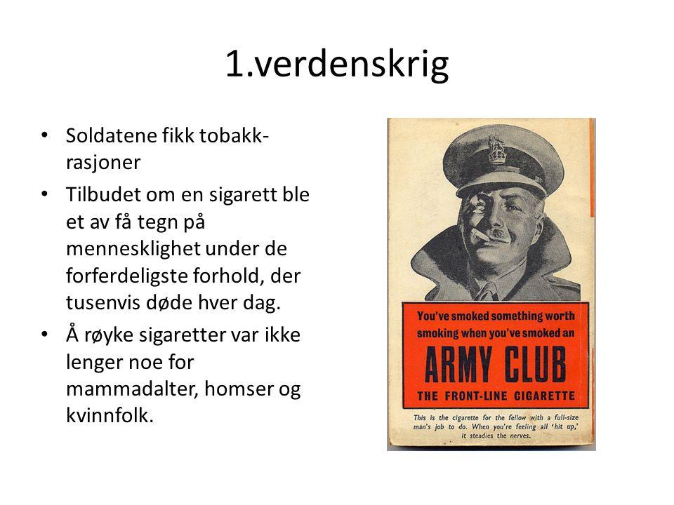 1.verdenskrig Soldatene fikk tobakk-rasjoner