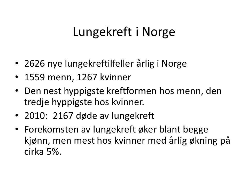 Lungekreft i Norge 2626 nye lungekreftilfeller årlig i Norge