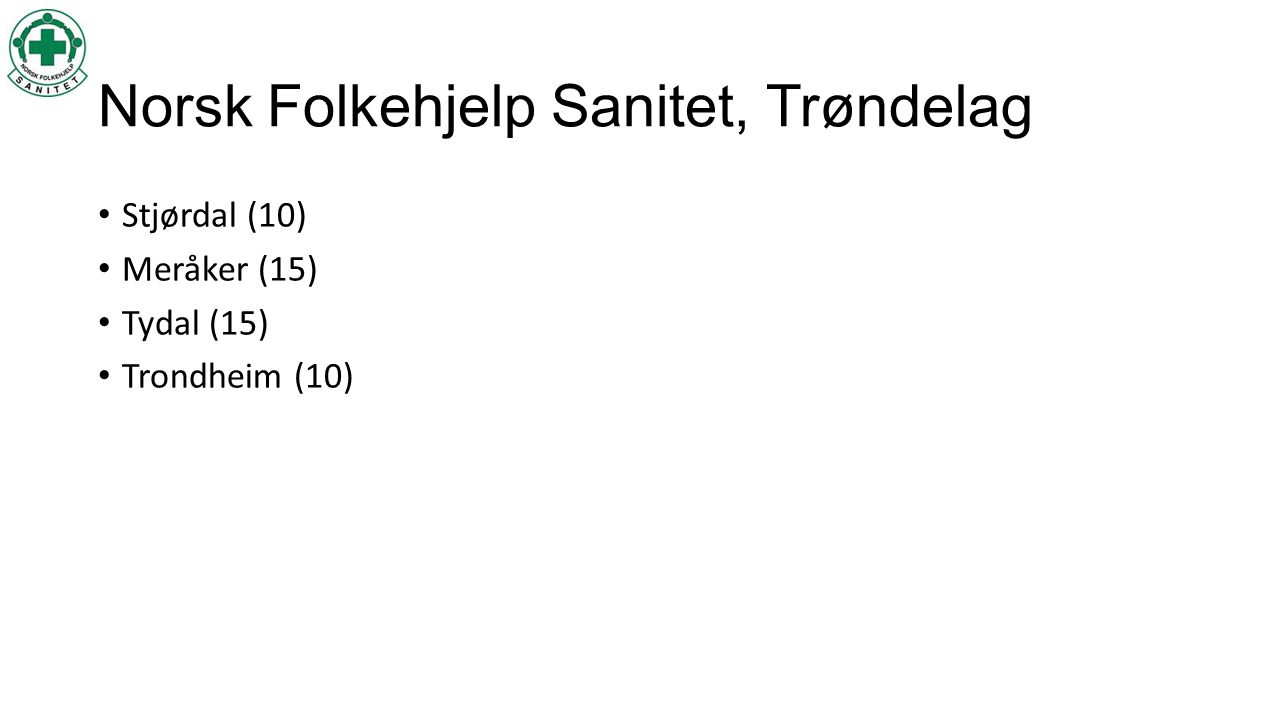 Norsk Folkehjelp Sanitet, Trøndelag