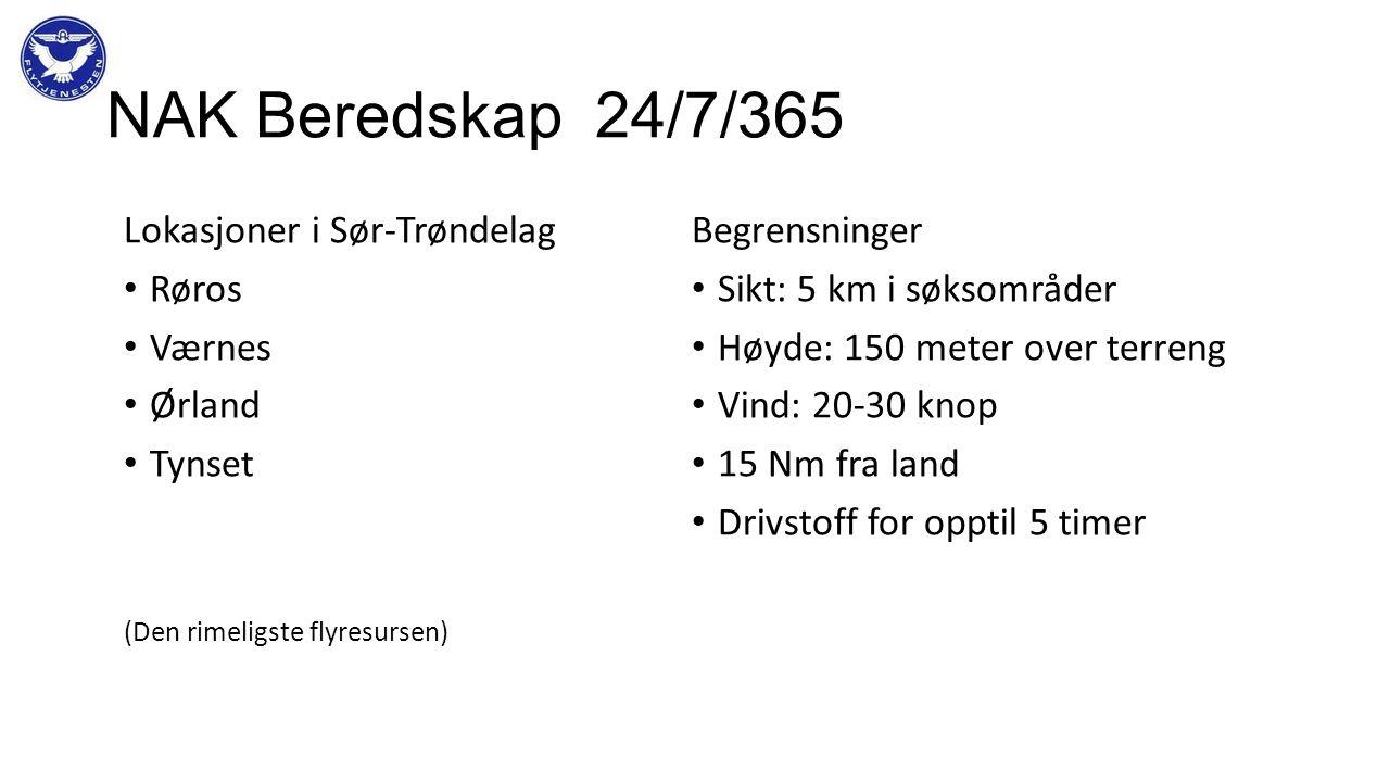 NAK Beredskap 24/7/365 Lokasjoner i Sør-Trøndelag Røros Værnes Ørland