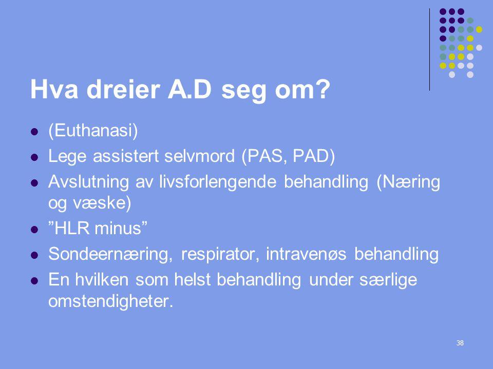 Hva dreier A.D seg om (Euthanasi) Lege assistert selvmord (PAS, PAD)
