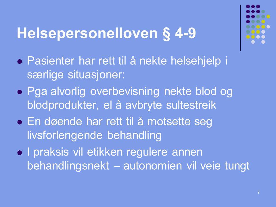 Helsepersonelloven § 4-9