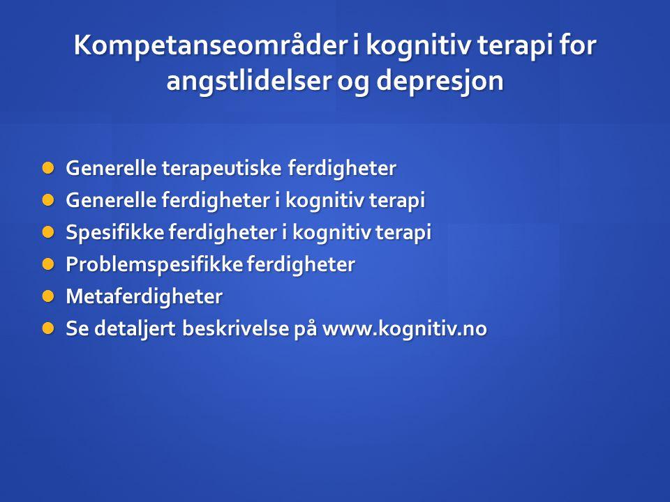 Kompetanseområder i kognitiv terapi for angstlidelser og depresjon