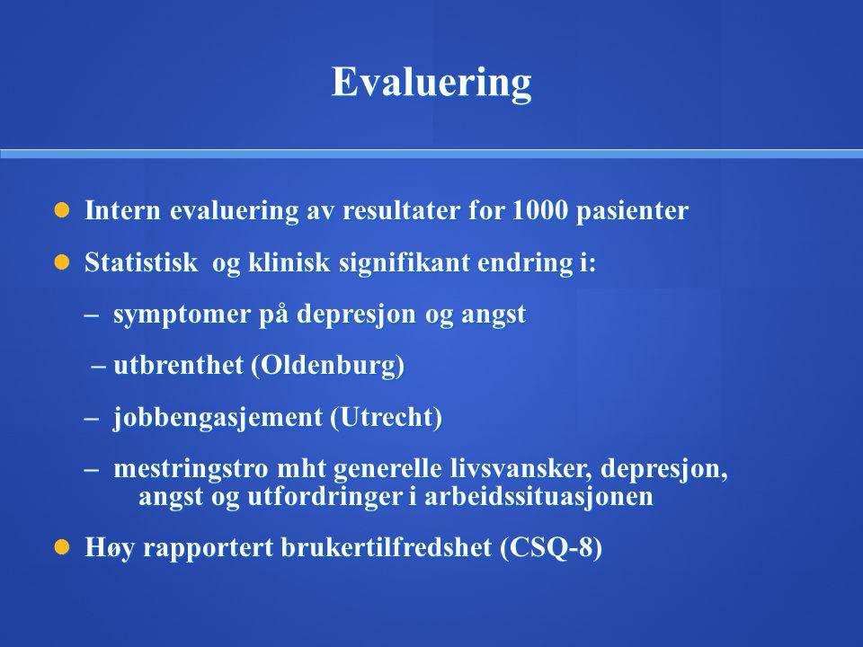 Evaluering Intern evaluering av resultater for 1000 pasienter