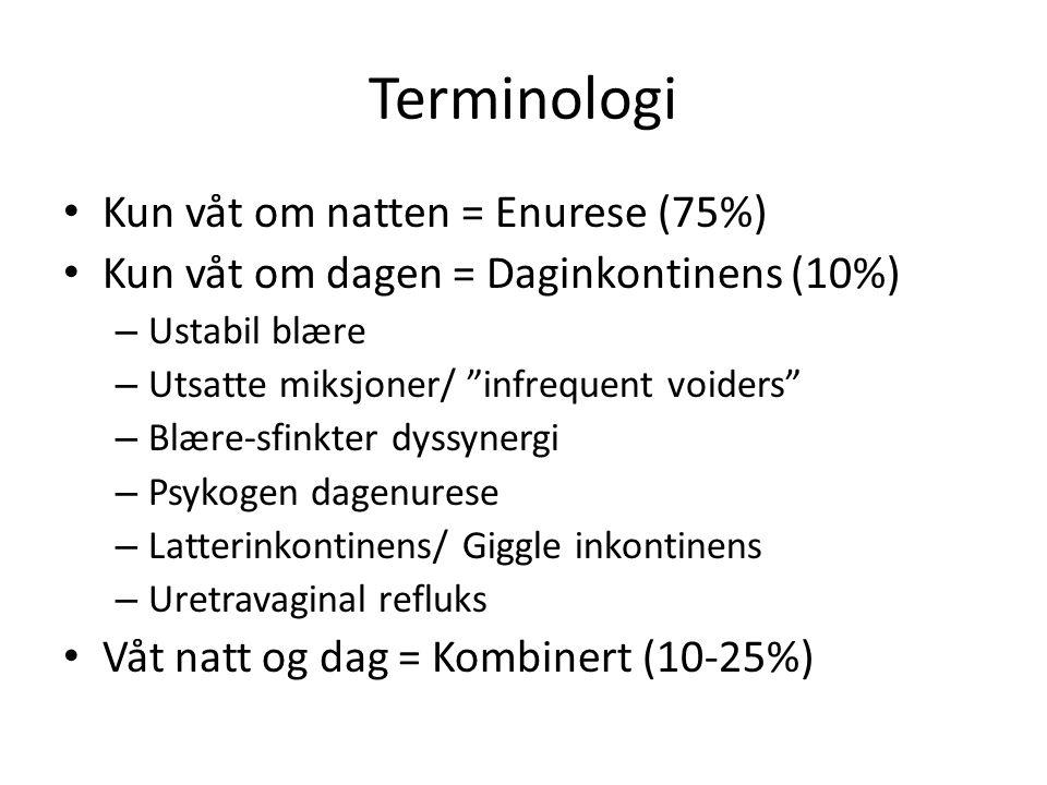 Terminologi Kun våt om natten = Enurese (75%)
