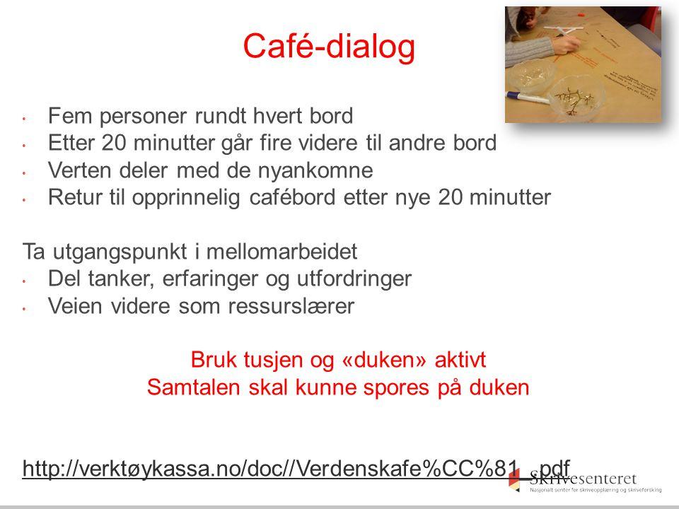 Café-dialog Fem personer rundt hvert bord