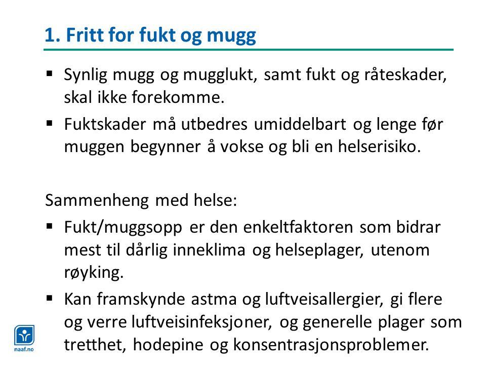 1. Fritt for fukt og mugg Synlig mugg og mugglukt, samt fukt og råteskader, skal ikke forekomme.