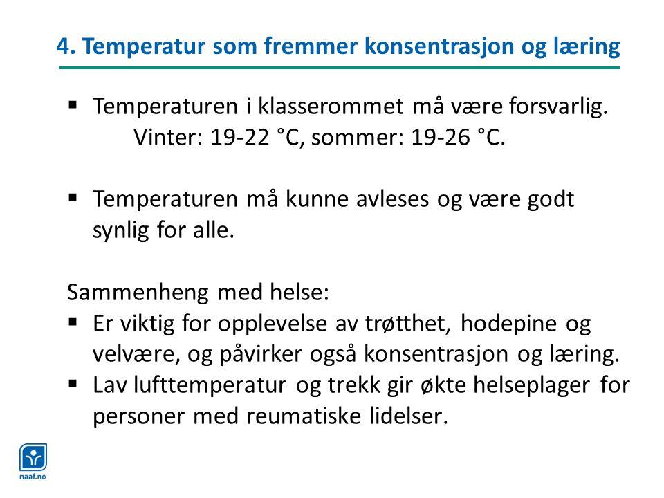 4. Temperatur som fremmer konsentrasjon og læring