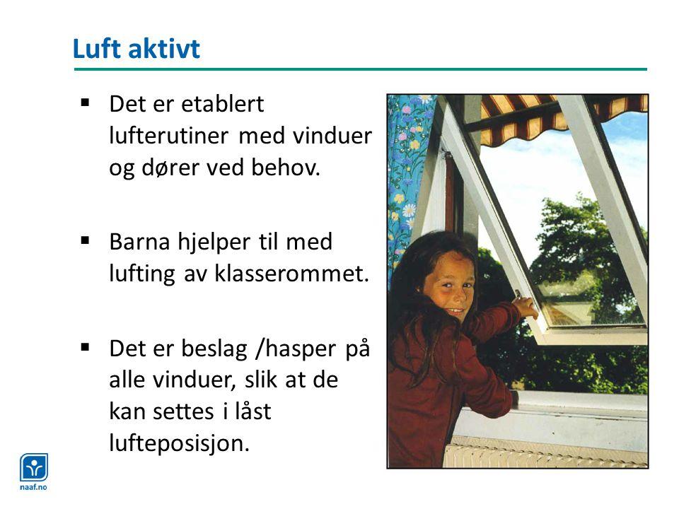 Luft aktivt Det er etablert lufterutiner med vinduer og dører ved behov. Barna hjelper til med lufting av klasserommet.