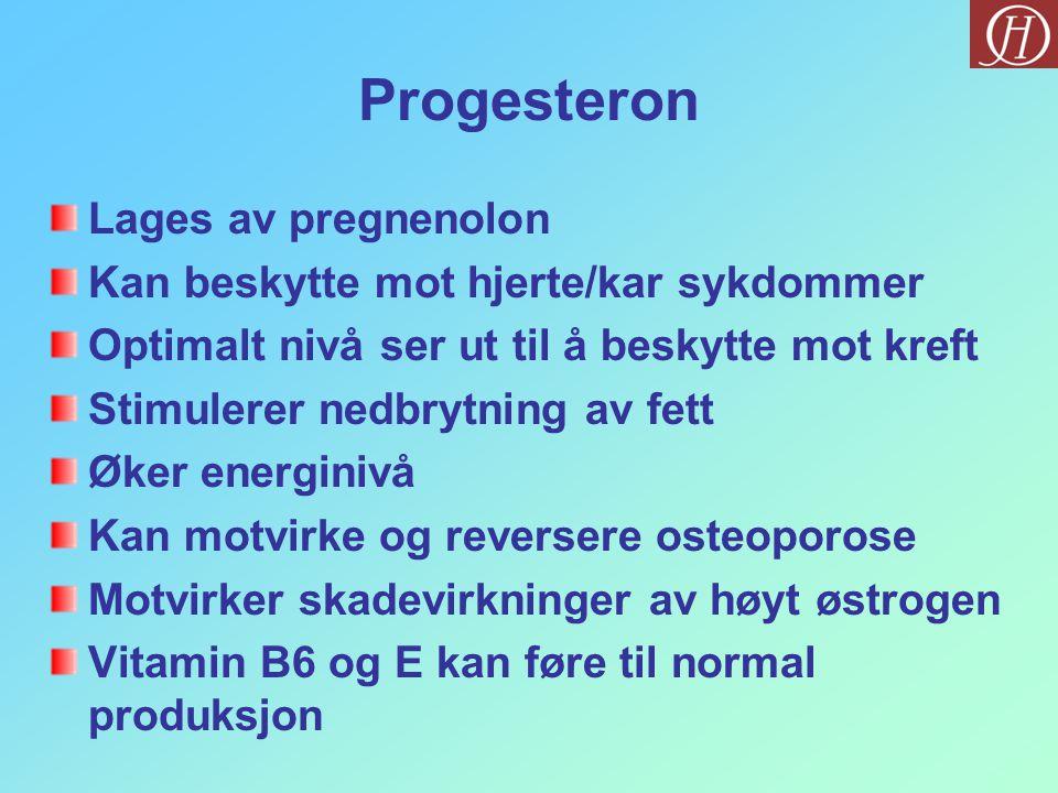 Progesteron Lages av pregnenolon Kan beskytte mot hjerte/kar sykdommer