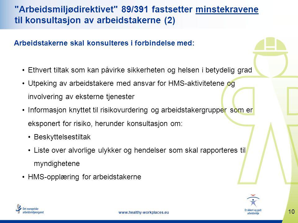Arbeidsmiljødirektivet 89/391 fastsetter minstekravene til konsultasjon av arbeidstakerne (2)
