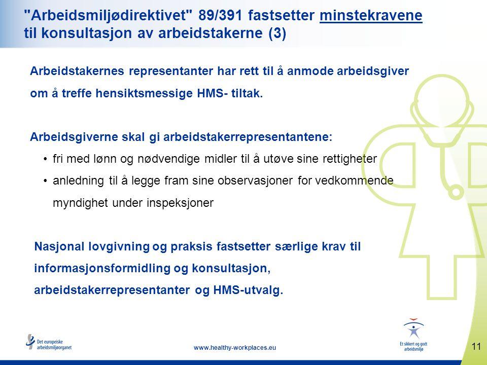 Arbeidsmiljødirektivet 89/391 fastsetter minstekravene til konsultasjon av arbeidstakerne (3)