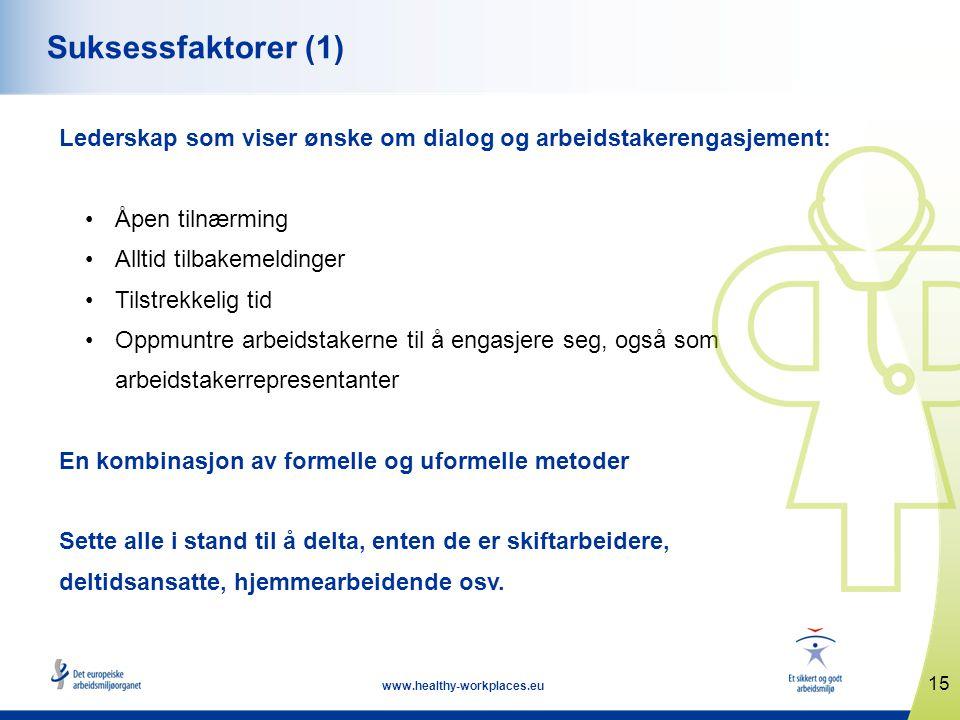 Suksessfaktorer (1) Lederskap som viser ønske om dialog og arbeidstakerengasjement: Åpen tilnærming.
