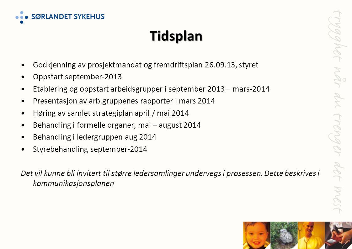 Tidsplan Godkjenning av prosjektmandat og fremdriftsplan 26.09.13, styret. Oppstart september-2013.