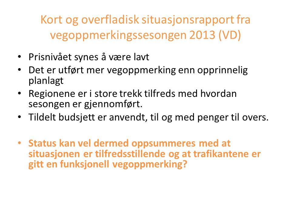 Kort og overfladisk situasjonsrapport fra vegoppmerkingssesongen 2013 (VD)