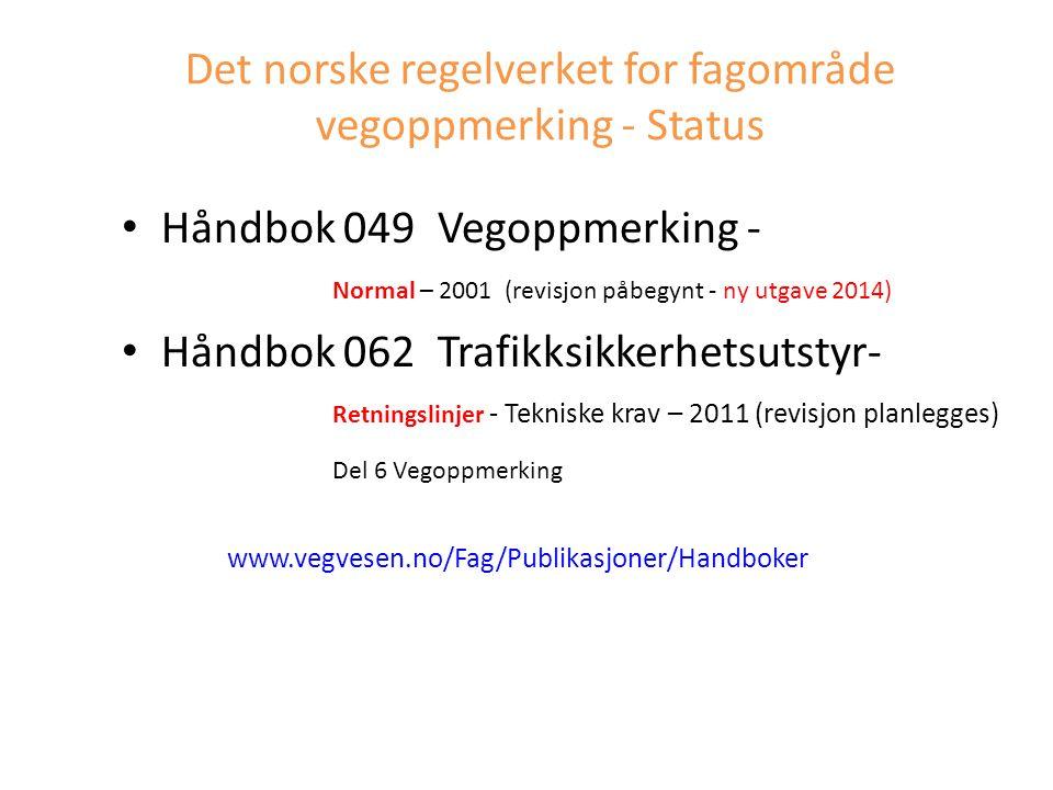 Det norske regelverket for fagområde vegoppmerking - Status