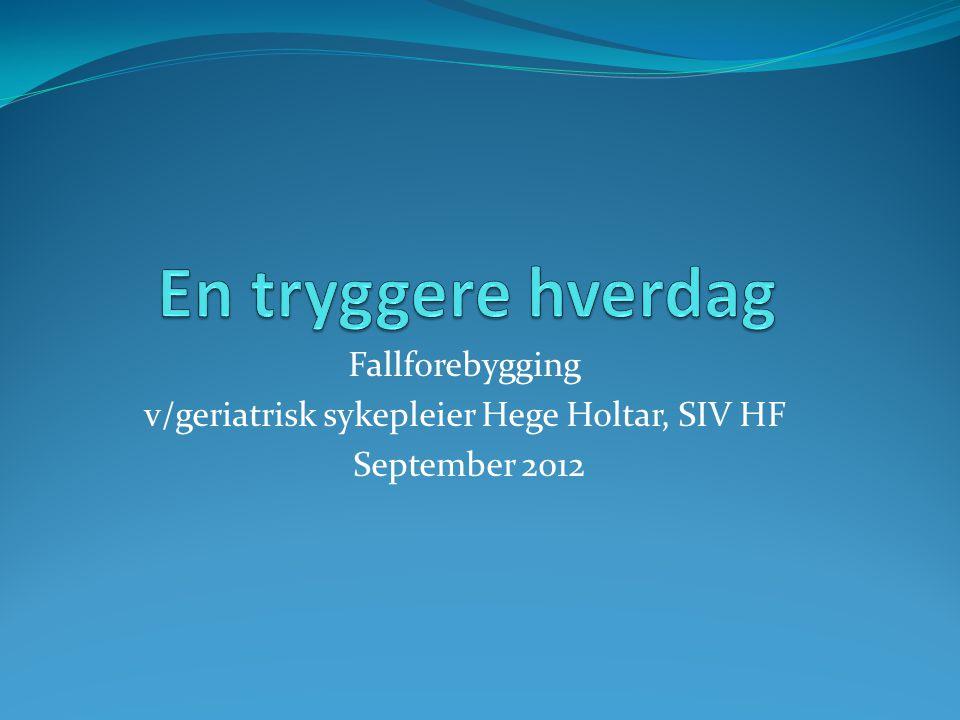 v/geriatrisk sykepleier Hege Holtar, SIV HF