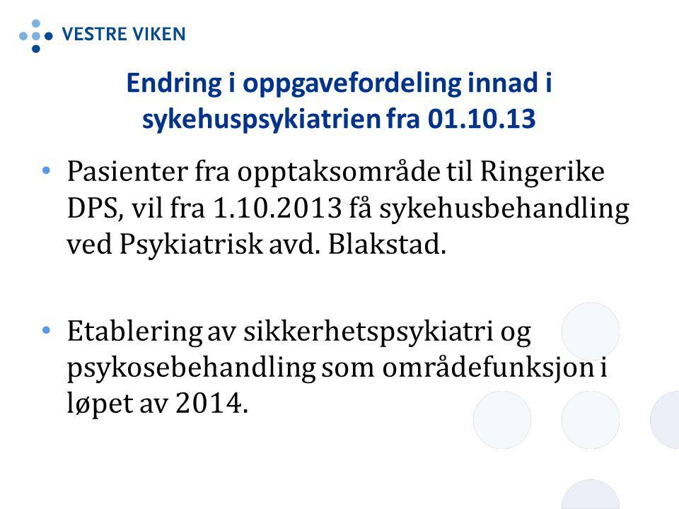 Endring i oppgavefordeling innad i sykehuspsykiatrien fra 01.10.13