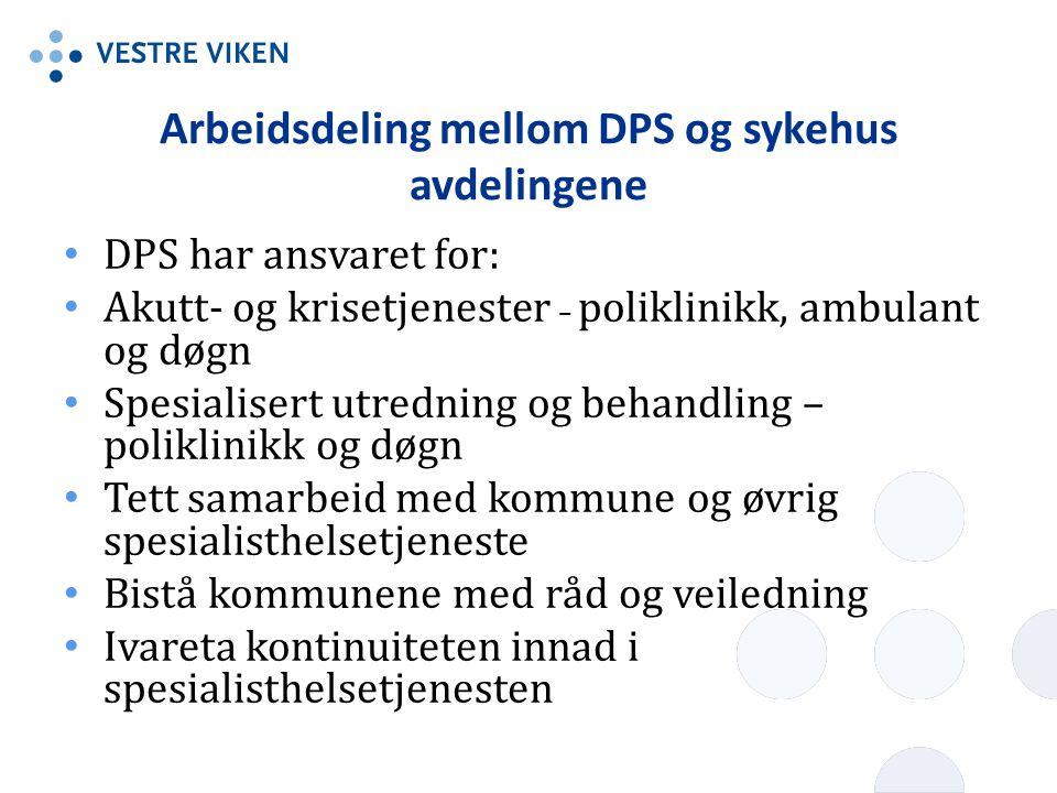 Arbeidsdeling mellom DPS og sykehus avdelingene