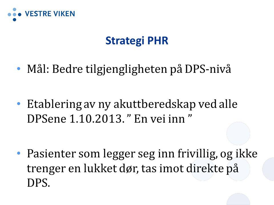 Strategi PHR Mål: Bedre tilgjengligheten på DPS-nivå. Etablering av ny akuttberedskap ved alle DPSene 1.10.2013. En vei inn