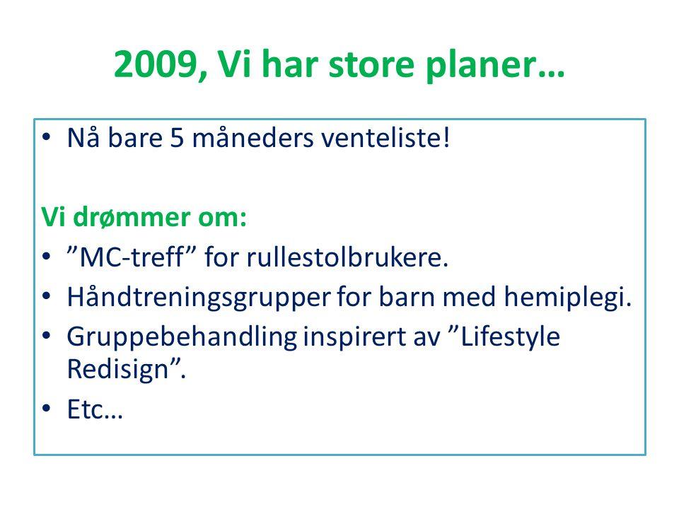 2009, Vi har store planer… Nå bare 5 måneders venteliste!