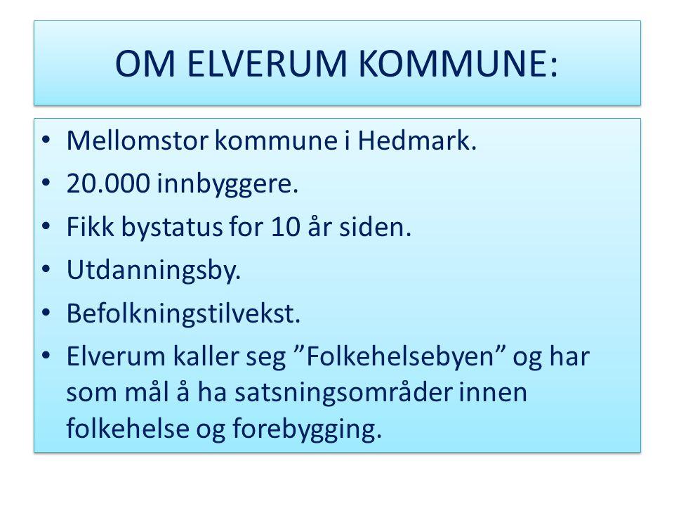 OM ELVERUM KOMMUNE: Mellomstor kommune i Hedmark. 20.000 innbyggere.