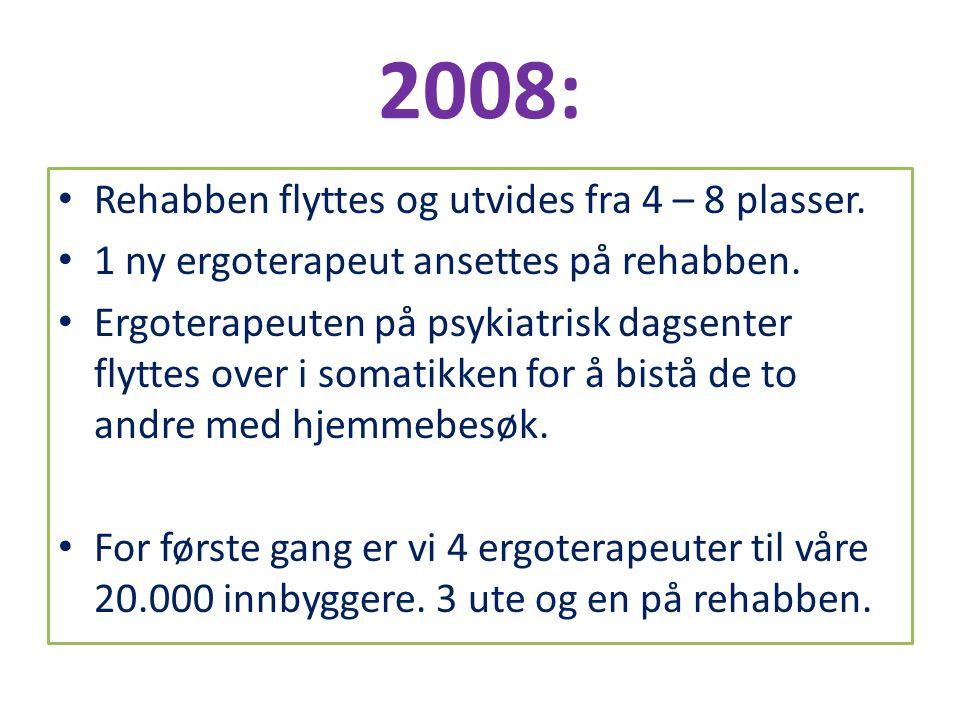 2008: Rehabben flyttes og utvides fra 4 – 8 plasser.