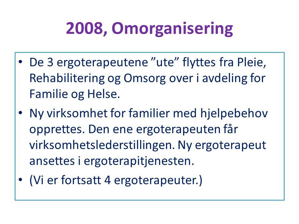 2008, Omorganisering De 3 ergoterapeutene ute flyttes fra Pleie, Rehabilitering og Omsorg over i avdeling for Familie og Helse.