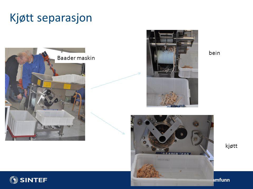 Kjøtt separasjon bein Baader maskin kjøtt