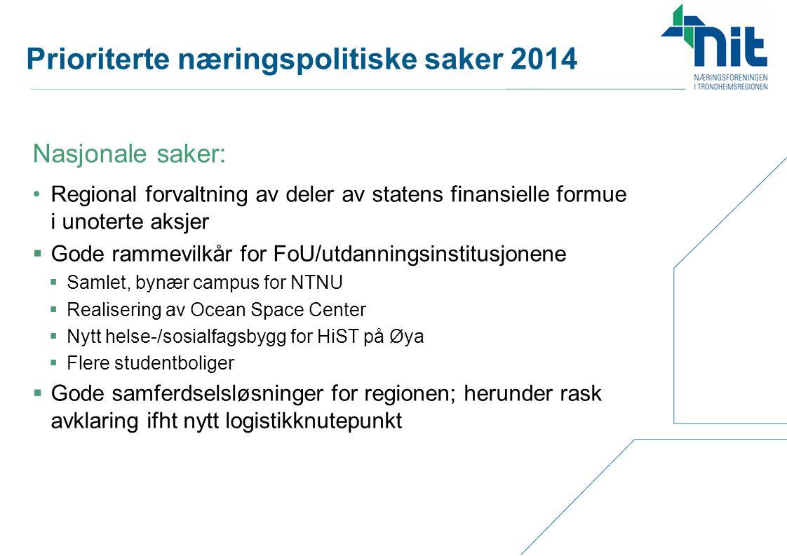 Prioriterte næringspolitiske saker 2014