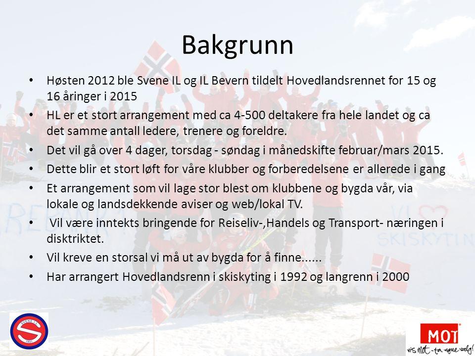 Bakgrunn Høsten 2012 ble Svene IL og IL Bevern tildelt Hovedlandsrennet for 15 og 16 åringer i 2015.
