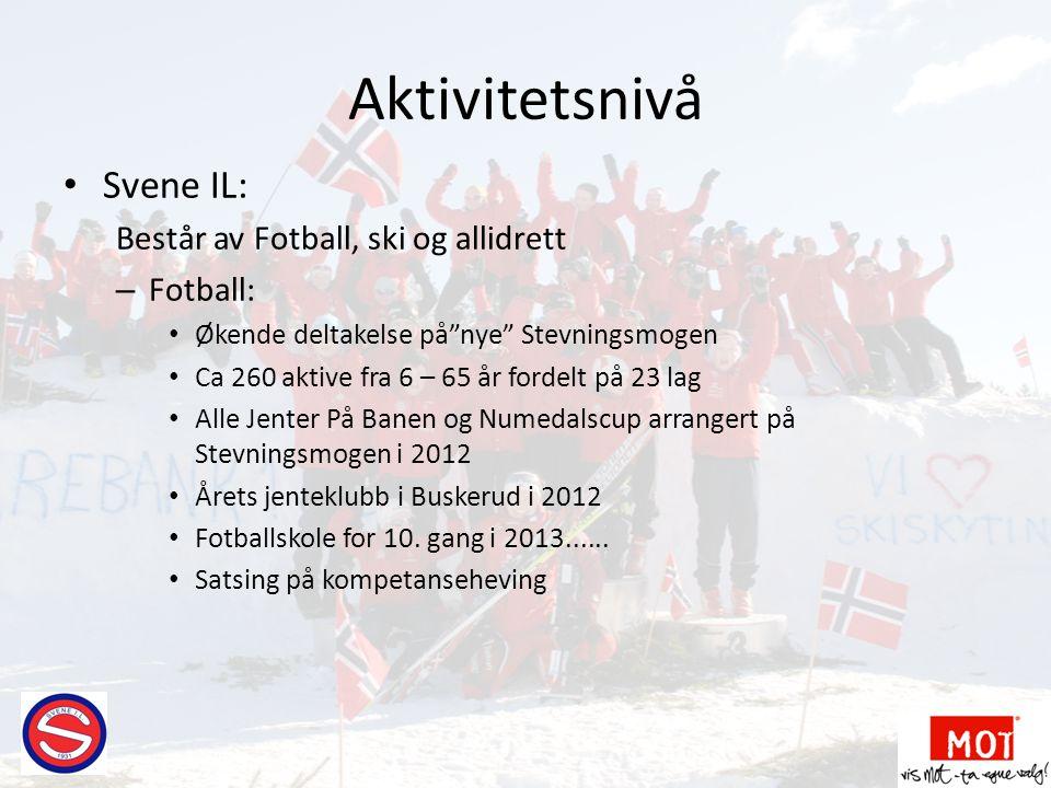 Aktivitetsnivå Svene IL: Består av Fotball, ski og allidrett Fotball: