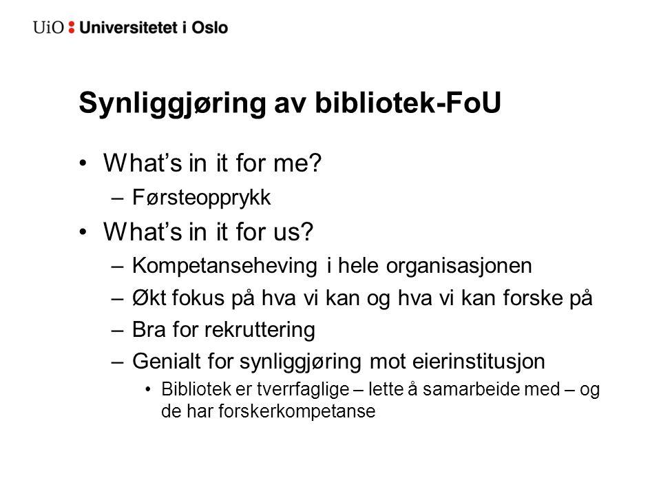 Synliggjøring av bibliotek-FoU