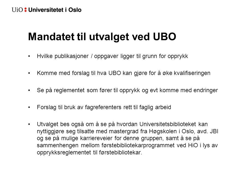 Mandatet til utvalget ved UBO